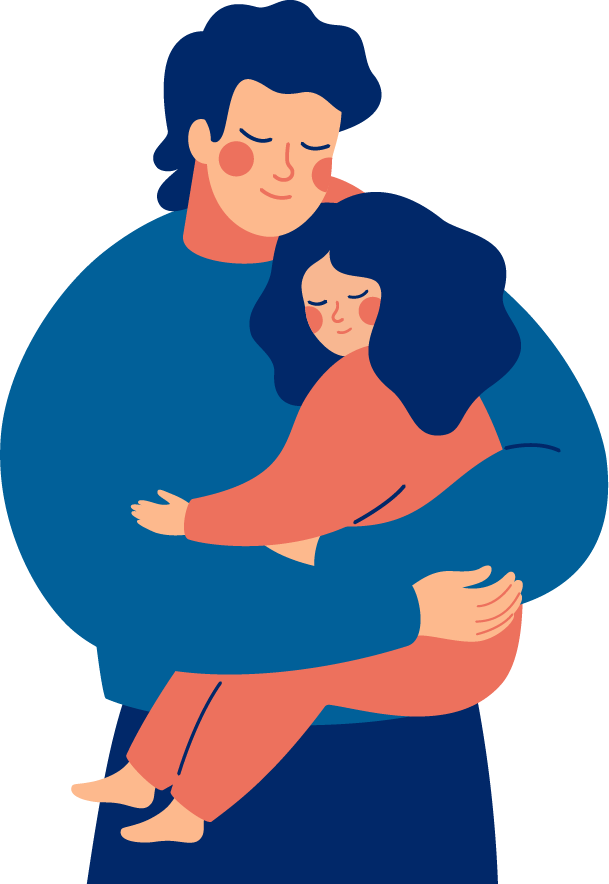 Illustration of father embracing daughter