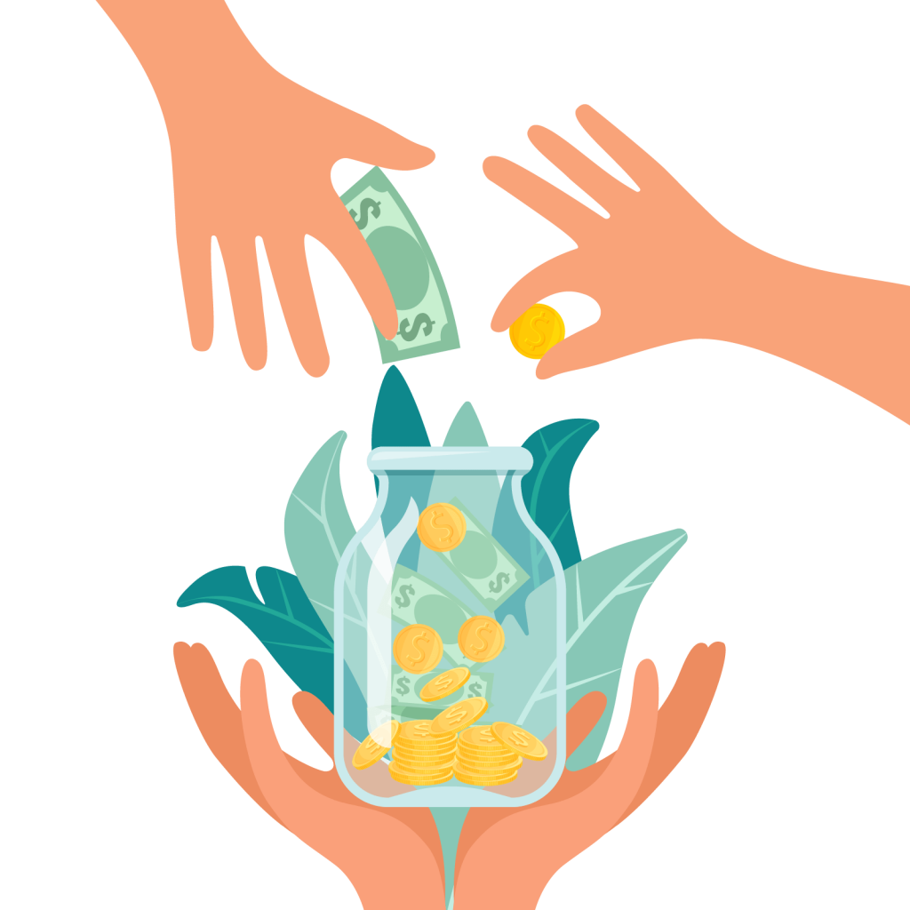 Illustrations of Hands Donating Money in a Jar